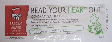 Book It!® Reading Program Certificate.