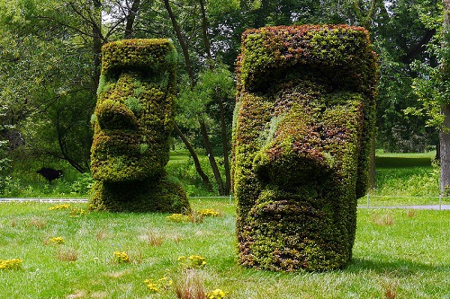 Easter Island Heads, Montreal Botanical Gardens. Image Credit:  Deanna Young