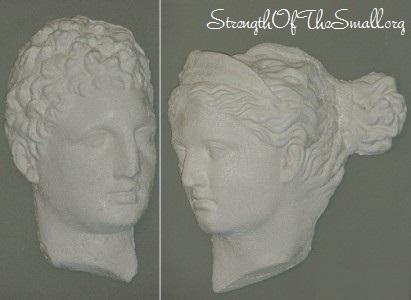 Greek Male & Female Head Sculptures