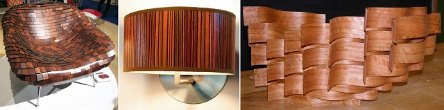 1. The Armadillo Chair. 2. Contemporary Wood Wall Light. 3. Bent Laminate Modular Form.