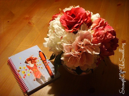 Notepad, Fountain Pen & a Vase with Artificial Peony.