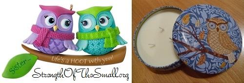 Owl Ornament & Owl Candle Tin.