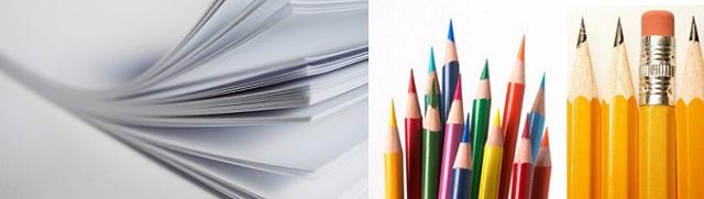 Paper, Pencils, Crayons.