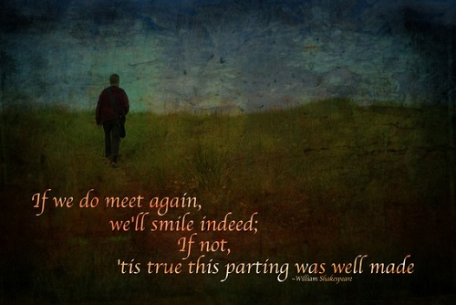 """If we do meet again, we'll smile indeed; If not, 'tis true this parting was well made."" - William Shakespeare"