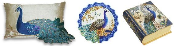1. Peacock Pillow. 2. Peacock Paper Coaster Set. 3. Peacock Double Deck Playing Cards.