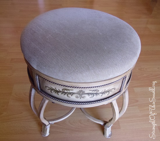 Shabby Chic/Cottage Chic Stool with Wrought Iron Legs.