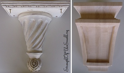 Vintage Wall Sconce Corbel & Raw Maple Corbel.